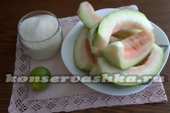 Ингредиенты для приготовления арбузного конфитюра