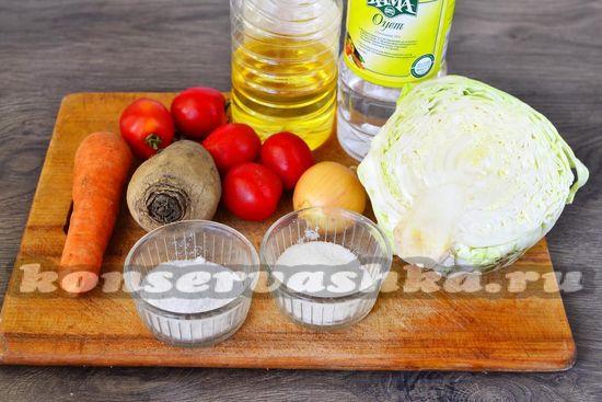 Ингредиенты для приготовления борщевой заправки