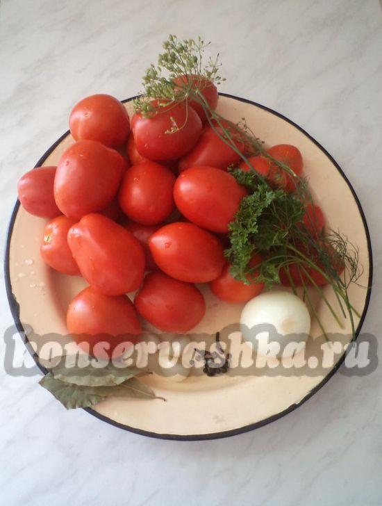 Ингредиенты для приготовления помидор на зиму