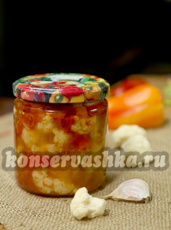 рецепт маринованной цветной капусты с овощами