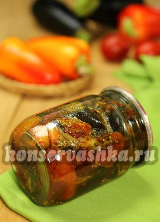 Баклажаны со сладким перцем на зиму - рецепт с фото