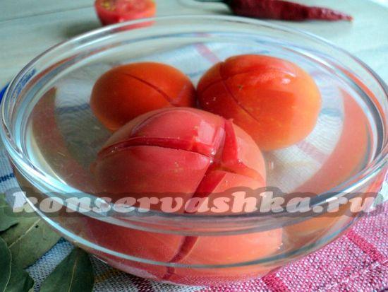 сделать надрезы на томатах