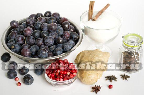 Ингредиенты для приготовления джема с брусникой