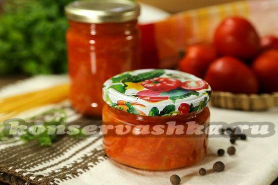 рецепт соуса из томатов к спагетти на зиму