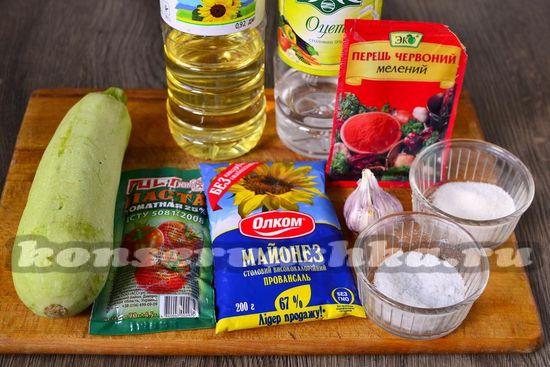 Ингредиенты для приготовления кабачковой икры с майонезом
