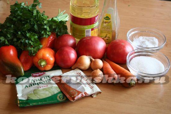 Ингредиенты для приготовления салата на зиму