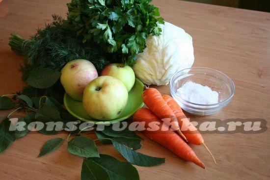 Ингредиенты для приготовления капусты с яблоками