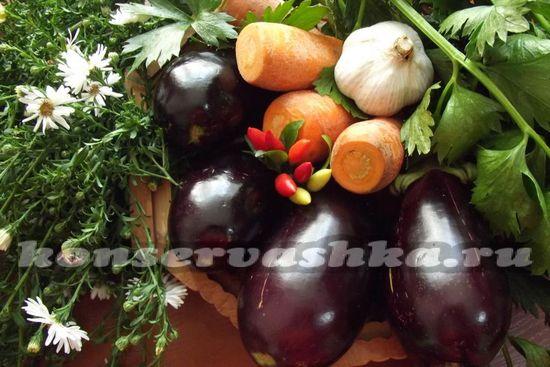Ингредиенты для приготовления квашенных бакалжанов