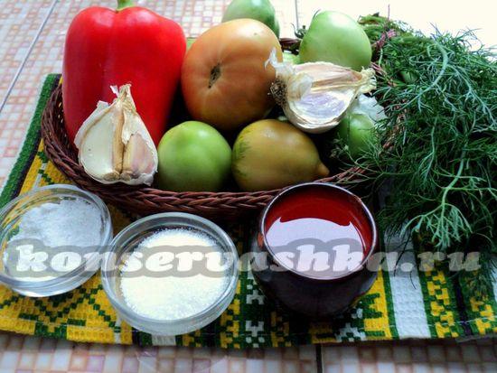 Ингредиенты для приготовления зеленых помидор по-корейски
