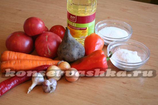 Ингредиенты для приготовления овощной икра на зиму