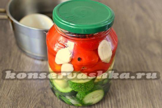 заливаем овощи