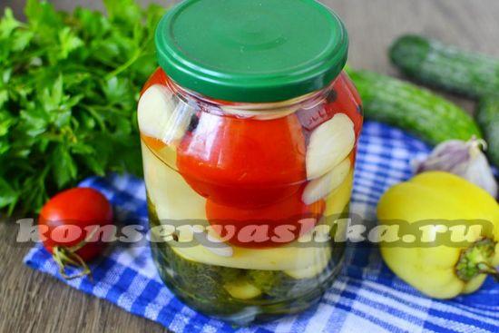 рецепт ассорти на зиму из помидор, перца и огурцов