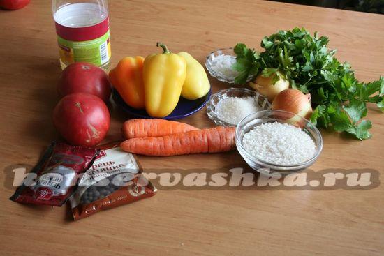 Ингредиенты для приготовления перца с овощным фаршем на зиму