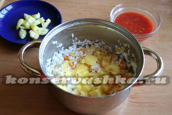 добавить рис, пасту, специи