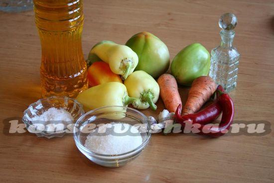 Для приготовления аджики из зеленых помидор нам понадобятся следующие ингредиенты