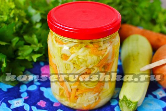 Салат из кабачков, моркови и лука на зиму