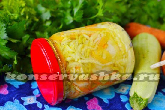 Салат из кабачков с морковью и луком на зиму