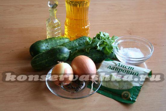 Ингредиенты для приготовления салата из огурцов
