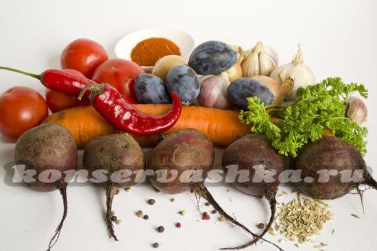 Ингредиенты для приготовления суповой заправки на зиму