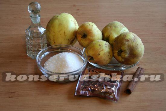 Ингредиенты для приготовления маринованной айвы
