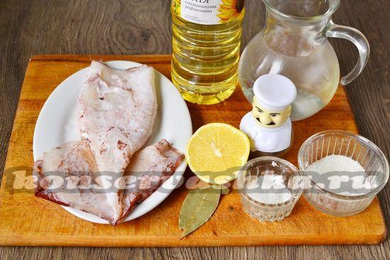 Ингредиенты для приготовления маринованного кальмара