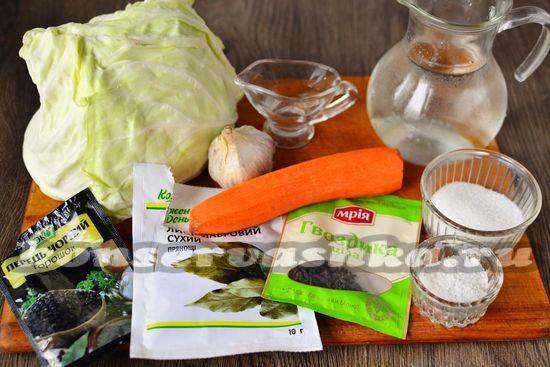 Ингредиенты для приготовления маринованной капусты на зиму