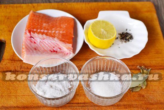 Ингредиенты для приготовления соленой форели