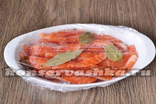 укладываем кусочки рыбы  в емкость и накрываем крышкой или пищевой пленкой