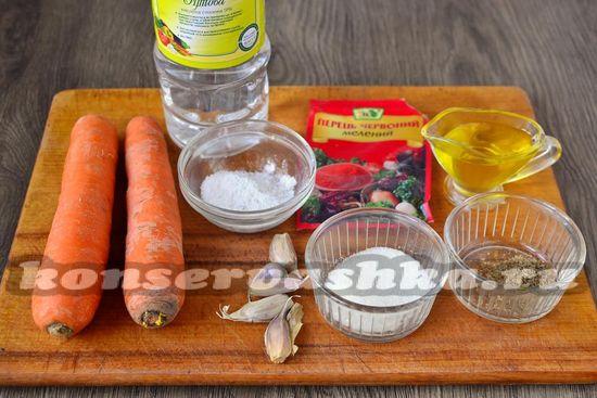 Ингредиенты для приготовления моркови по-корейски