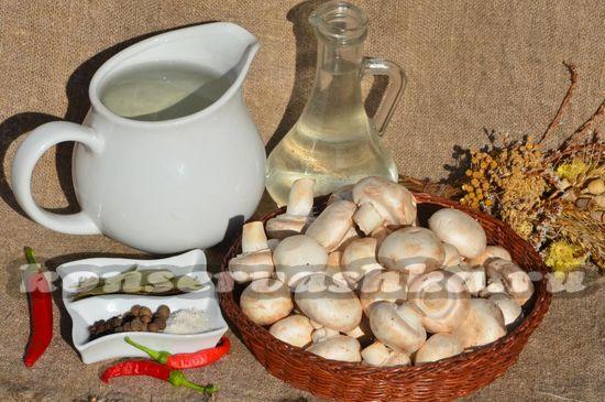 Ингредиенты для приготовления маринованных шампиньйонов
