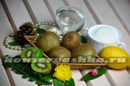 Ингредиенты для приготовления джема из киви и лимонного сока