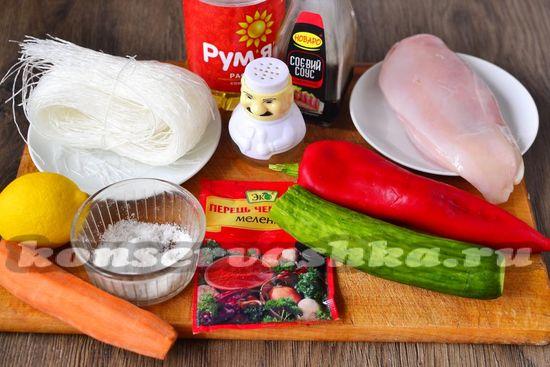 Ингредиенты для приготовления фрунчозы с овощами по-корейски