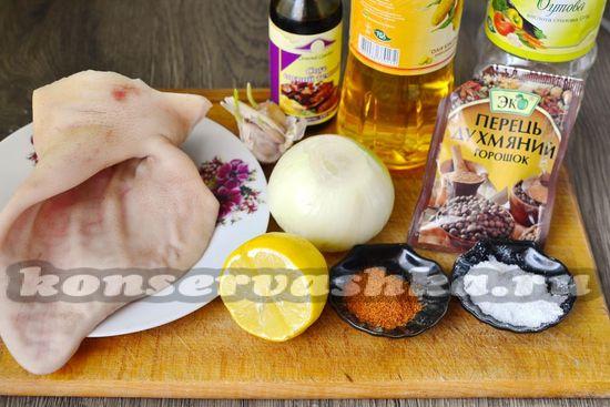 Ингредиенты для приготовления маринованных ушек