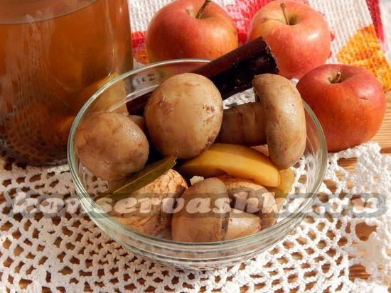 рецепт маринованных шампиньонов с яблоком и корицей.