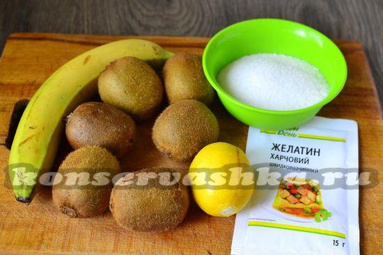Ингредиенты для приготовления варенья из киви и банана
