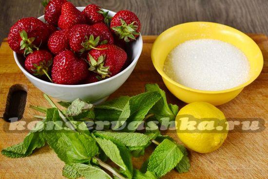 Ингредиенты для приготовления варенья из клубники и мяты