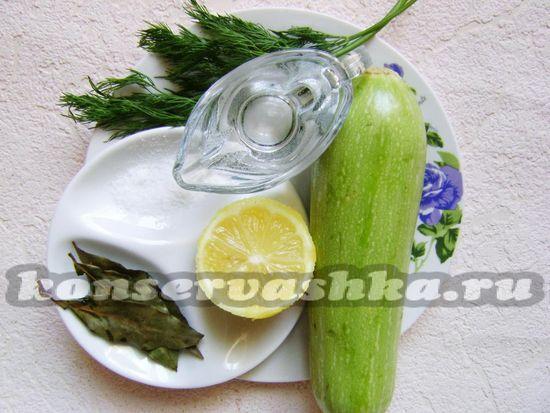 Ингредиенты для приготовленияму лимонных кабачков на зиму