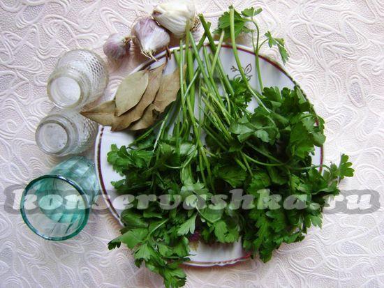 Ингредиенты для приготовления маринованной петрушки