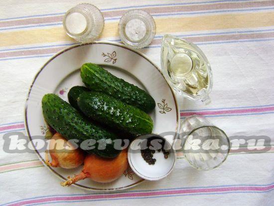 Ингредиенты для приготовления салата Нежинский на зиму
