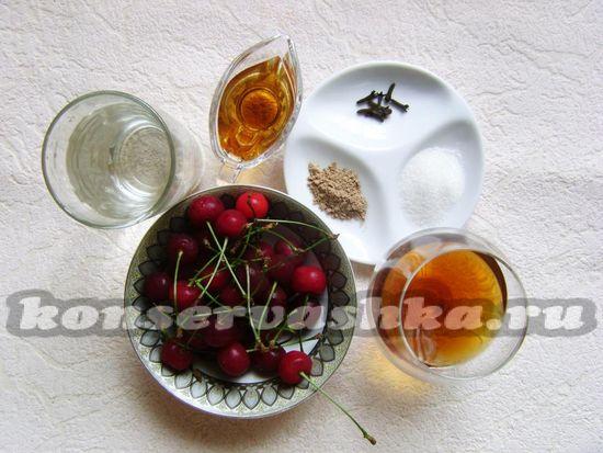 Ингредиенты для приготовления пьяной вишни на зиму