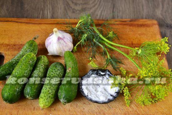 Ингредиенты для приготовления малосольных огурцов в пакете