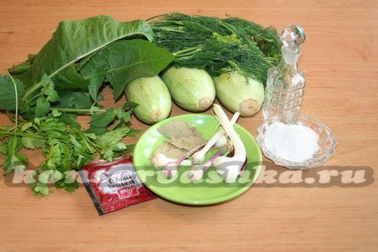 Ингредиенты для приготовления кабачков на зиму