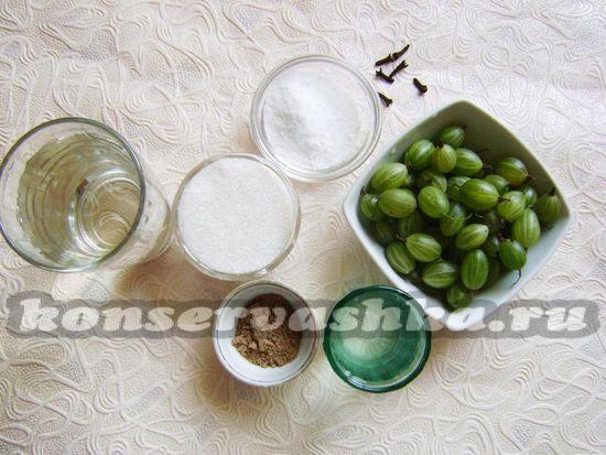 Ингредиенты для приготовления маринованного крыжовника