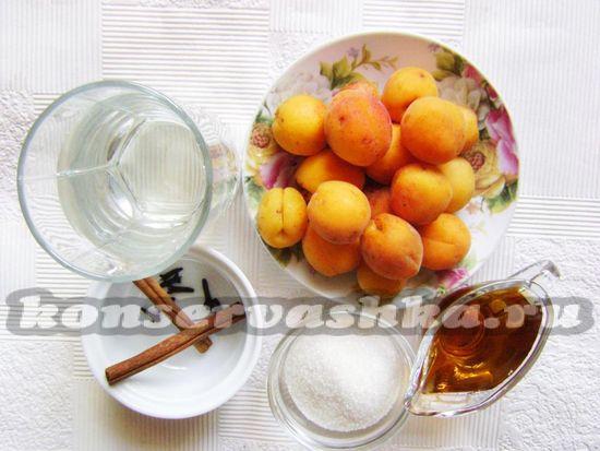 Ингредиенты для приготовления маринованных абрикос на зиму