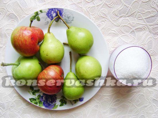 Ингредиенты для приготовления конфитюра из яблок и груш