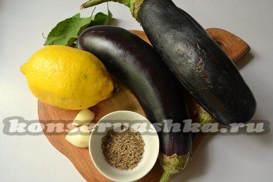 Ингредиенты для приготовления баклажан в лимонном масле на зиму