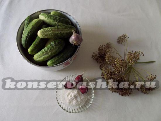 Ингредиенты для приготовления консервированных огурцов на зиму