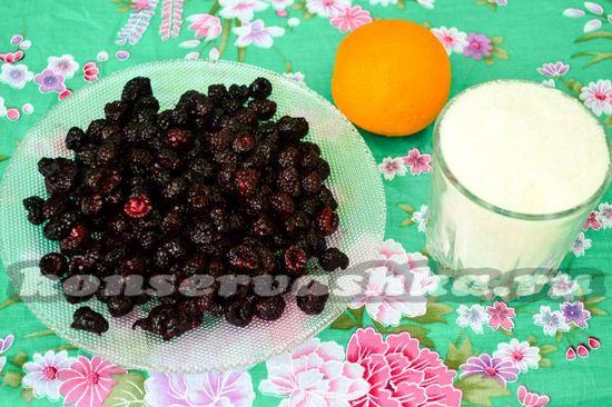 Ингредиенты для приготовления варенья из черной малины с апельсином