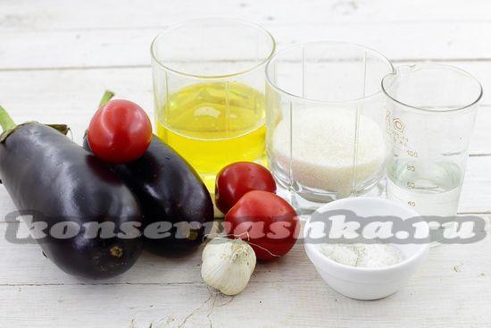 Ингредиенты для приготовления баклажан на зиму с помидорами