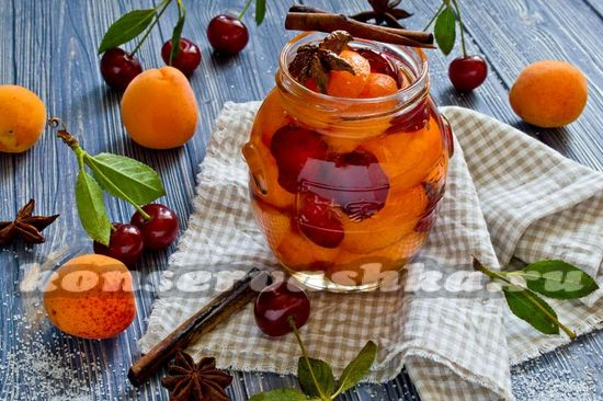 Компот из абрикосов и черешни на зиму: рецепт с фото